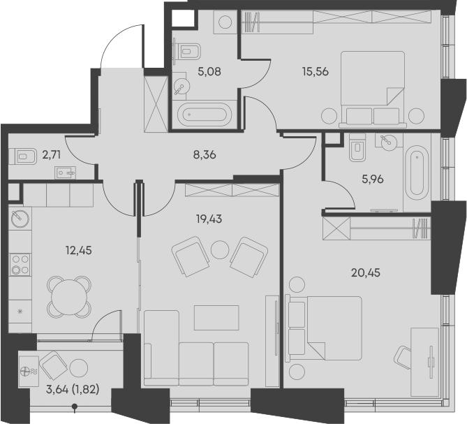 3-комнатная, 91.82 м²– 2