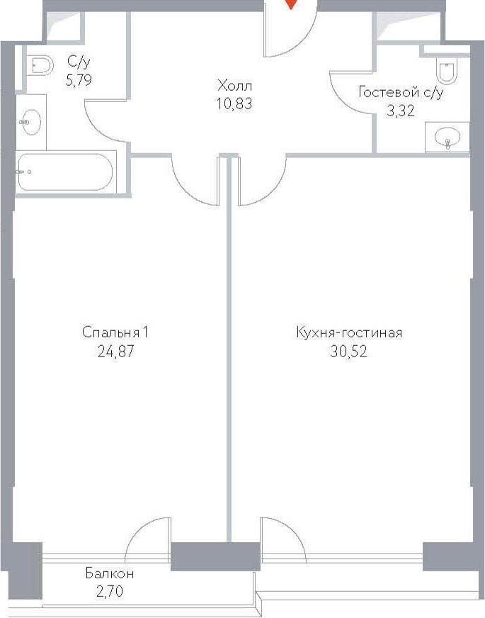 2Е-комнатная, 78.03 м²– 2