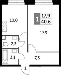 1-комнатная, 40.6 м²– 2