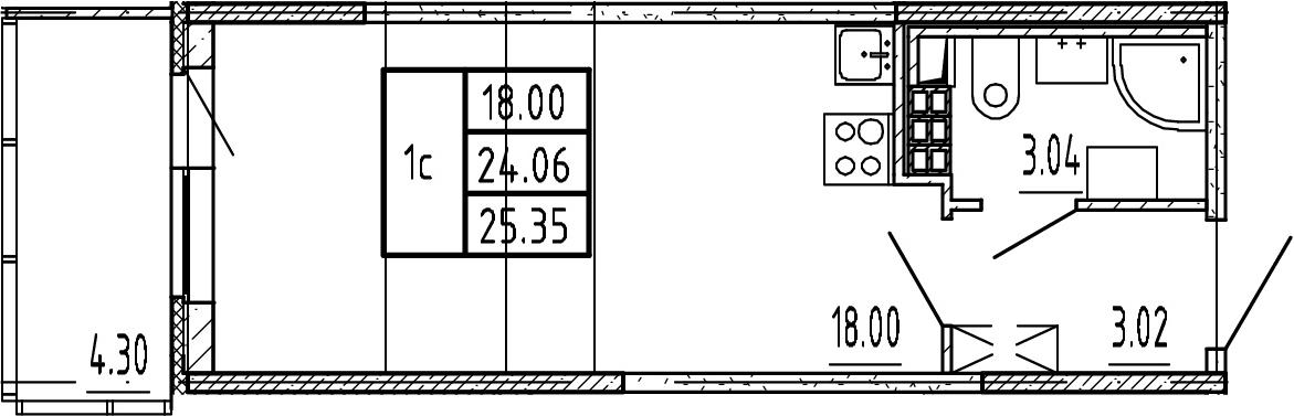 Студия, 24.06 м²– 2