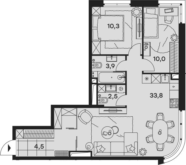3-к.кв (евро), 65 м²