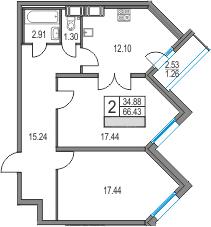 2-к.кв, 66.43 м²