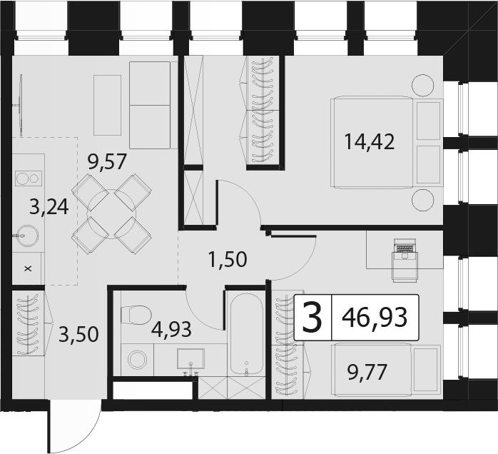 3-к.кв (евро), 46.93 м²