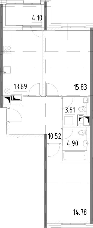 2-к.кв, 67.43 м²