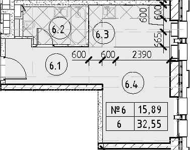 Студия, 32.55 м²