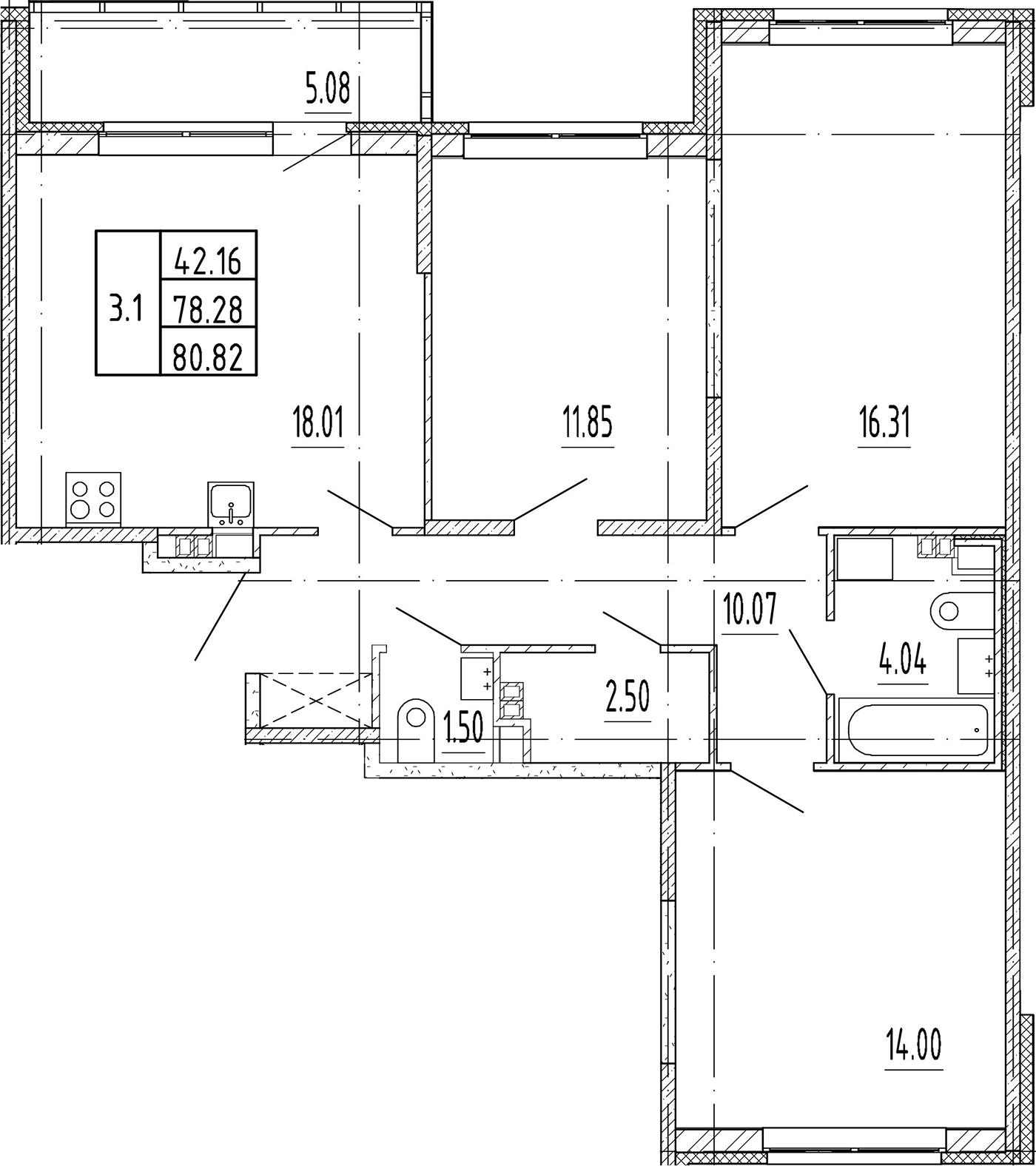4Е-к.кв, 78.28 м²