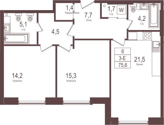 3Е-к.кв, 75.6 м²