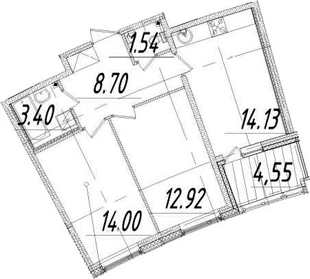 2-к.кв, 56.97 м²