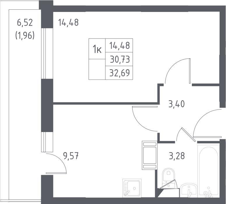 1-к.кв, 32.69 м², от 12 этажа