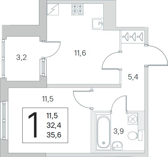 1-к.кв, 32.4 м², 1 этаж