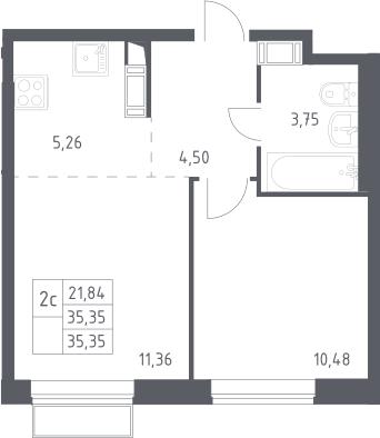 2Е-комнатная, 35.35 м²– 2