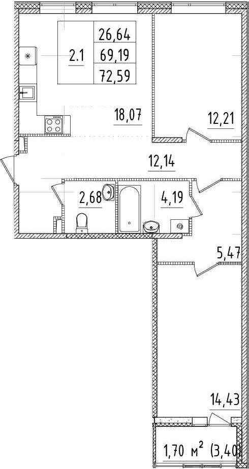 3Е-комнатная, 69.19 м²– 2