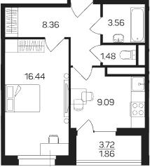 1-комнатная, 40.79 м²– 2