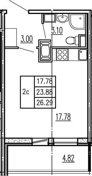 Студия, 23.88 м²– 2