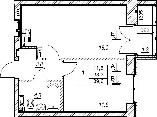 1-к.кв, 39.6 м², 3 этаж