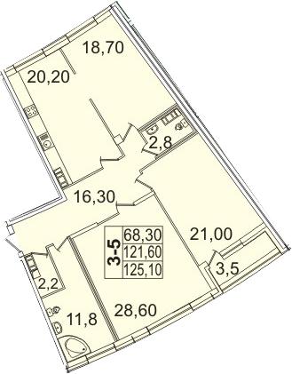 4-к.кв (евро), 128.62 м²