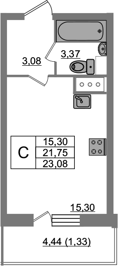Студия, 23.08 м²– 2