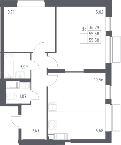 3Е-комнатная, 55.58 м²– 2