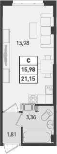 Студия, 21.15 м²