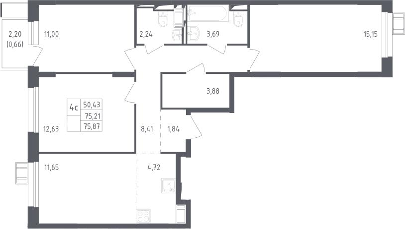 4Е-комнатная, 75.87 м²– 2
