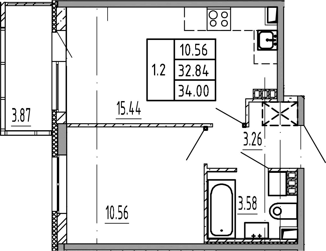 2Е-комнатная, 34 м²– 2