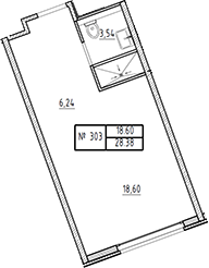 Студия, 28.38 м²– 2