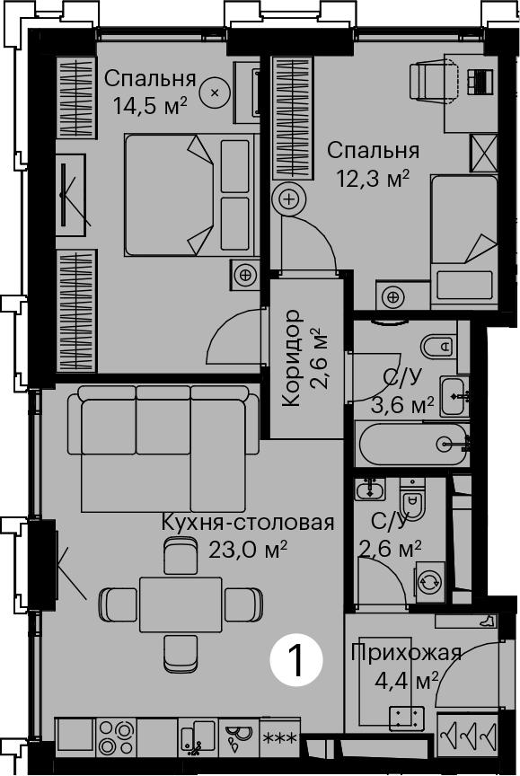 3Е-комнатная, 63 м²– 2