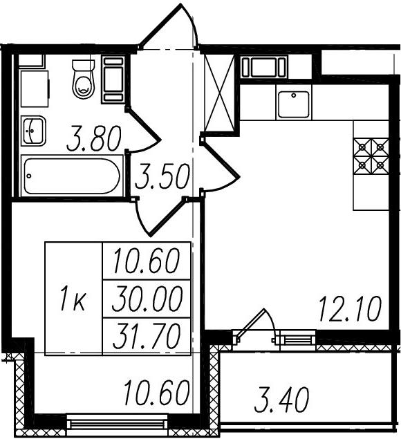 2-к.кв (евро), 33.4 м²