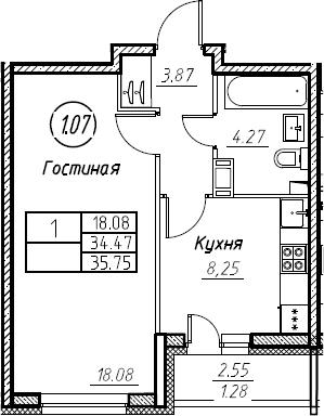 1-к.кв, 35.75 м², от 8 этажа