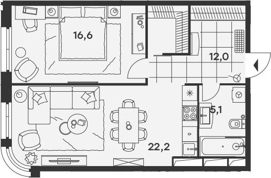 2Е-к.кв, 55.9 м², 15 этаж
