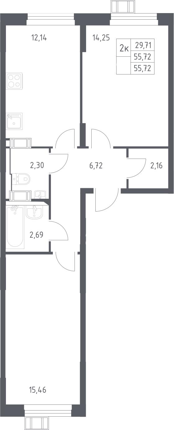 2-к.кв, 55.72 м²