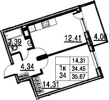 1-к.кв, 34.45 м²