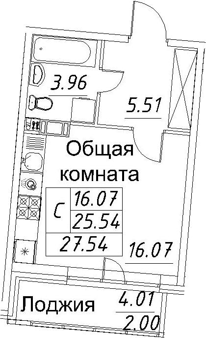 Студия, 27.54 м²– 2