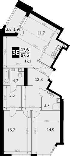 3-к.кв (евро), 89.5 м²