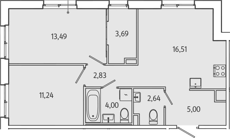 3Е-к.кв, 59.4 м², 1 этаж