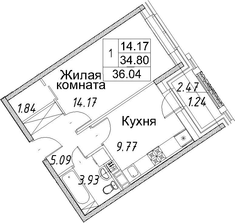 1-к.кв, 36.04 м²