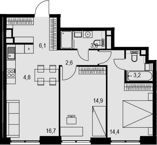 3Е-к.кв, 66.3 м², 12 этаж