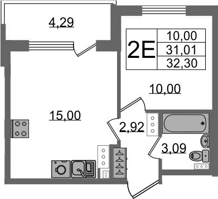 2Е-к.кв, 31.01 м²