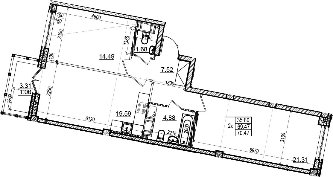 3Е-комнатная, 70.47 м²– 2