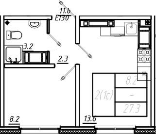 1-к.кв, 27.3 м², от 22 этажа