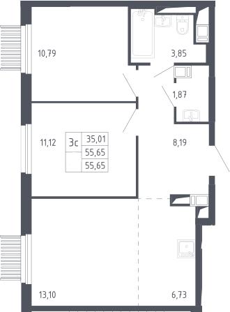 3Е-к.кв, 55.65 м², 10 этаж