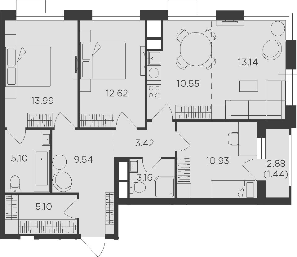4-к.кв (евро), 90.43 м²