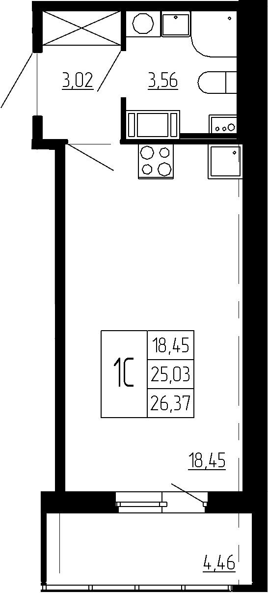 Студия, 25.03 м²– 2