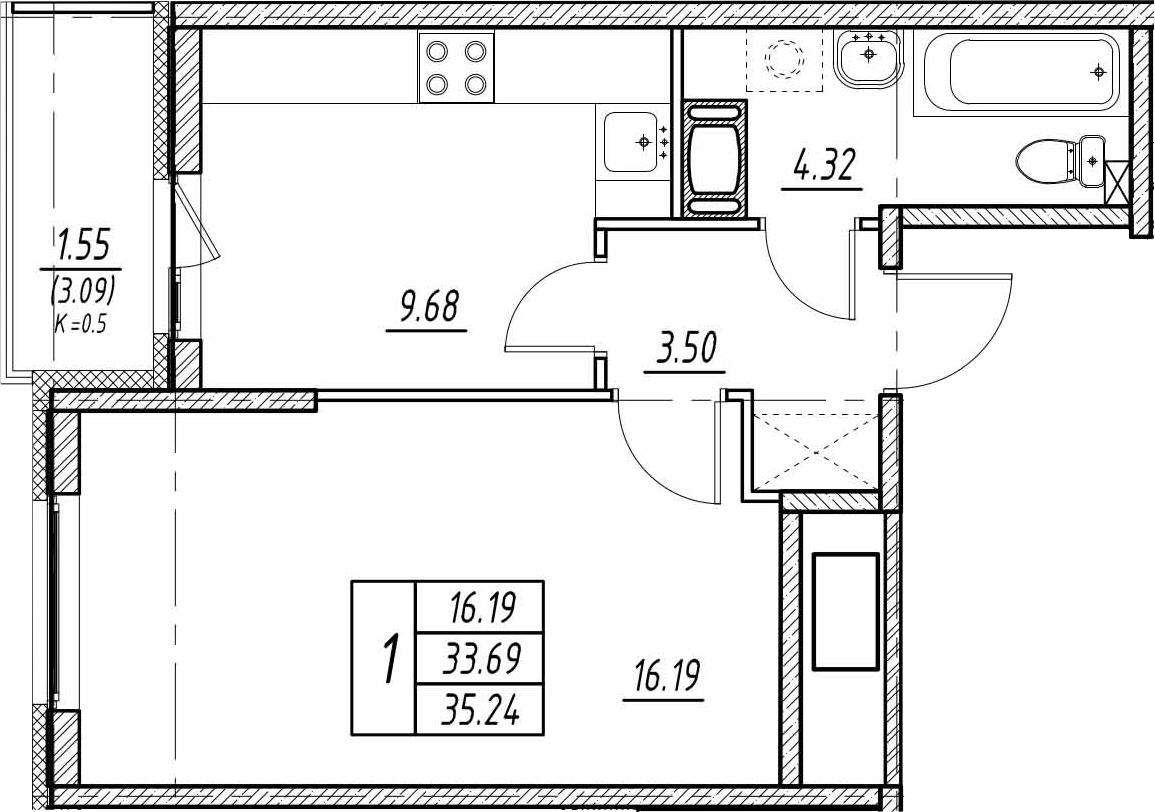 1-к.кв, 36.78 м²