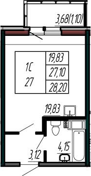 Студия, 30.78 м²