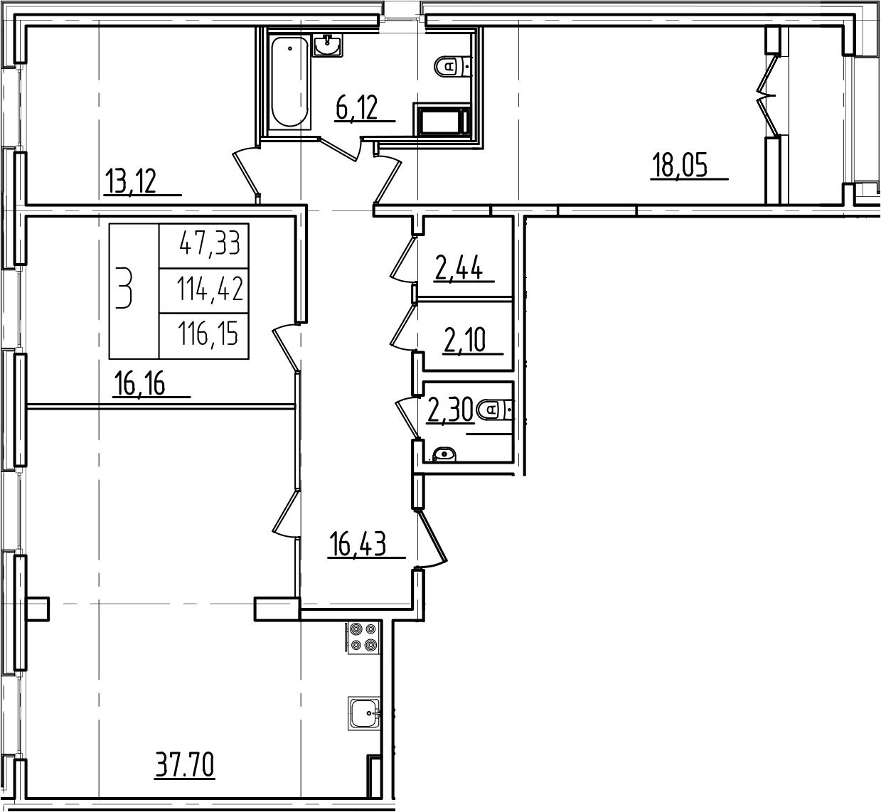 4Е-комнатная, 116.15 м²– 2