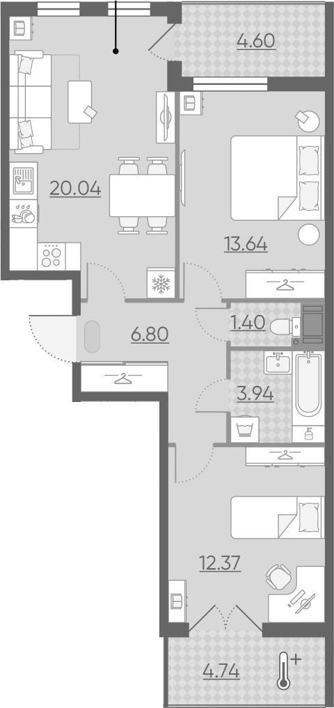 3Е-комнатная квартира, 62.86 м², 14 этаж – Планировка