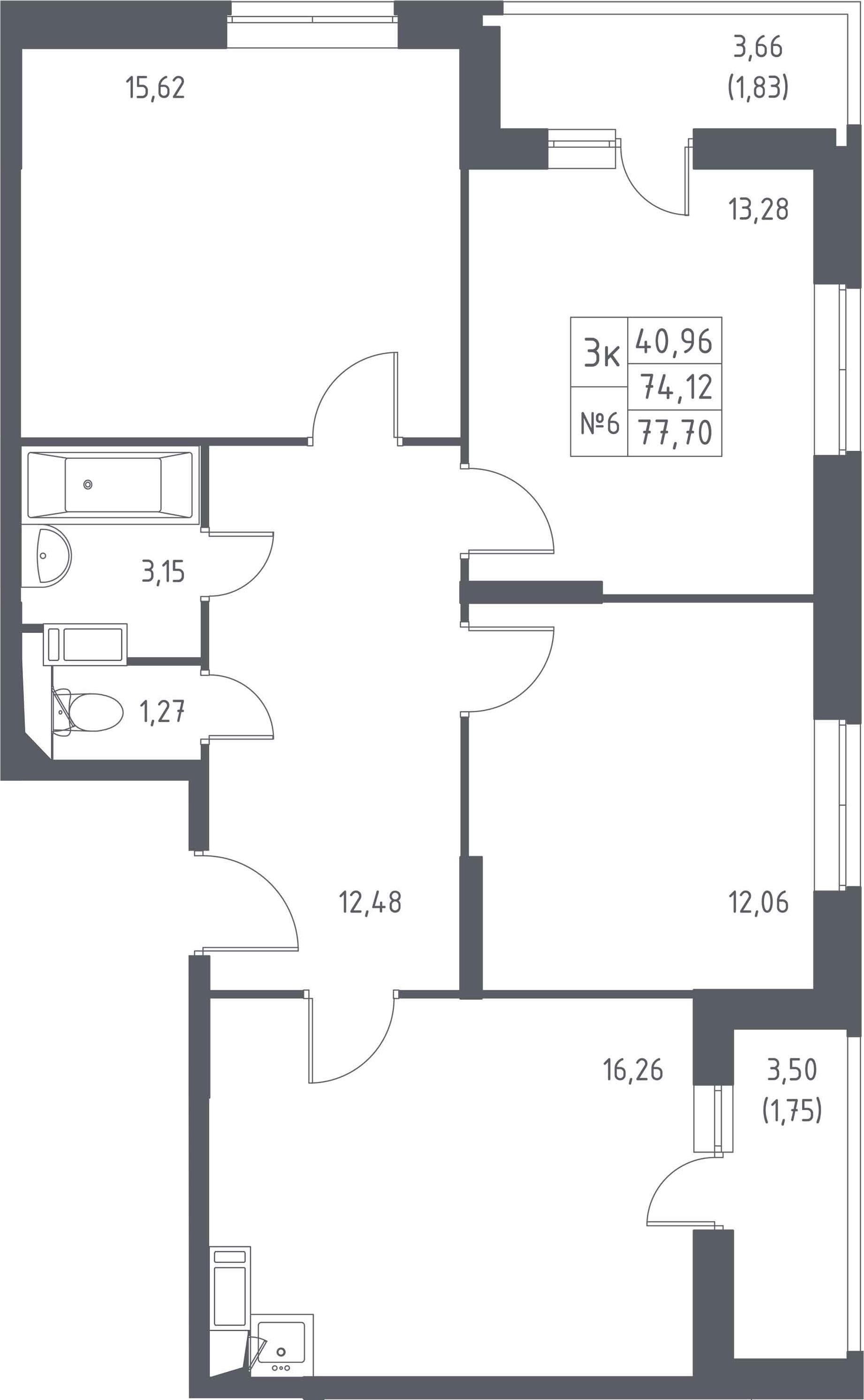 3-к.кв, 77.7 м²
