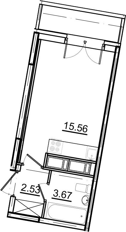 Студия, 22.77 м², 14 этаж