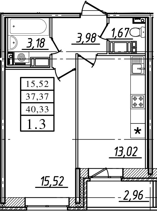 1-к.кв, 37.37 м²